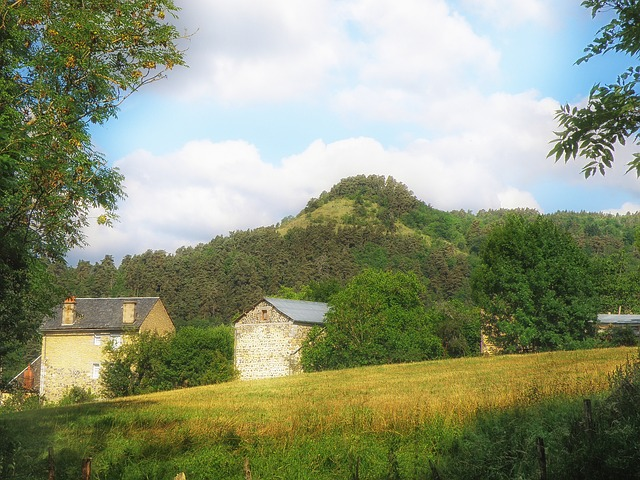 Free france landscape scenic mountain sky clouds farm