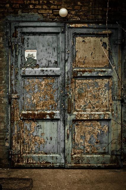 Free door entrance warehouse old blue wood worn paint