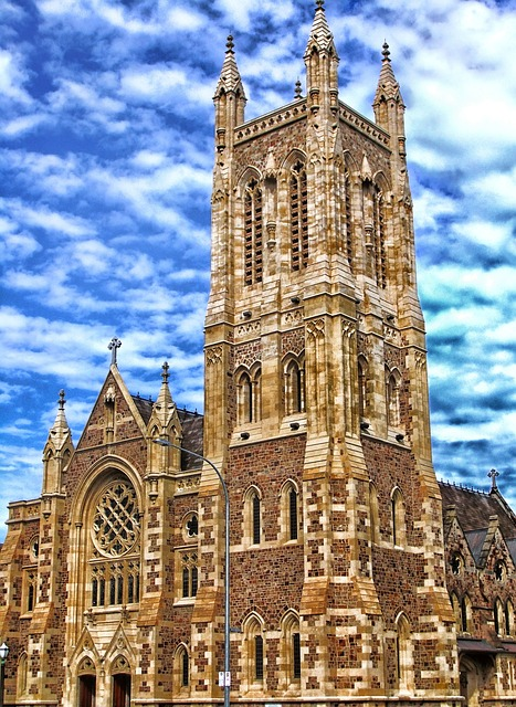 Free                adelaide australia sky clouds church tower