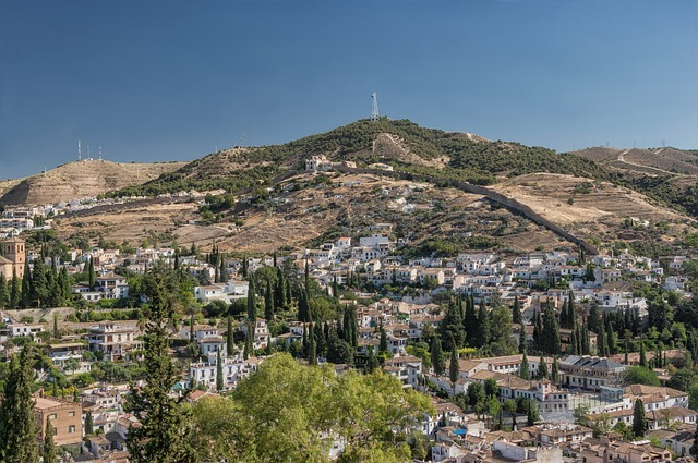 Free granada spain landscape mountains buildings houses