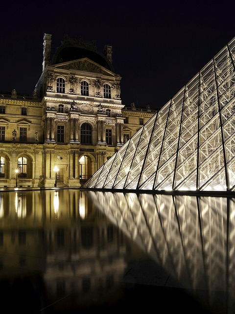 Free                louvre paris pyramid architecture night shot