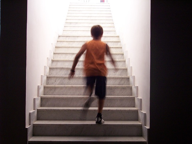 Free stairs staircase race guy who runs ascent steps