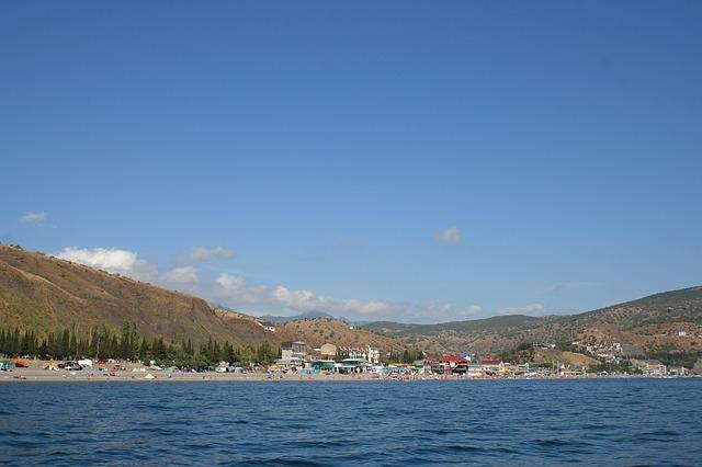 Free crimea lake water sky clouds beach people