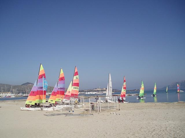 Free sea sail boats colorful water blue beach sailing