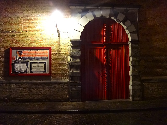 Free night light illumination red gate bruges