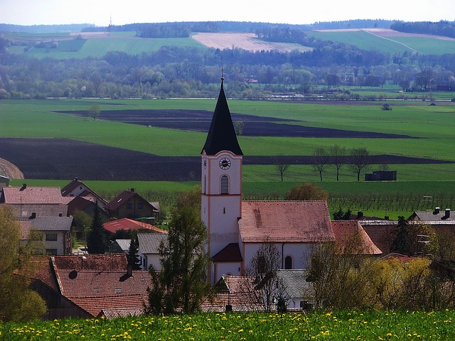Free bavaria germany church village buildings landscape