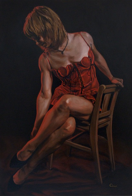 Free painting oil on canvas woman female beauty