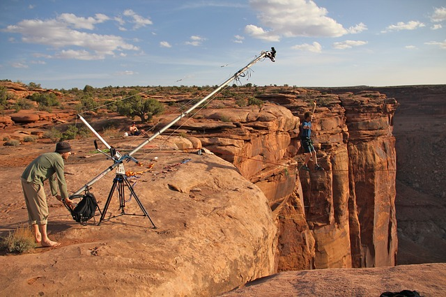Free moab utah mountains film crew men filming scenic