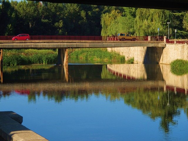 Free Photos: Reflection water canal blue car girona spain | Sheri Oz