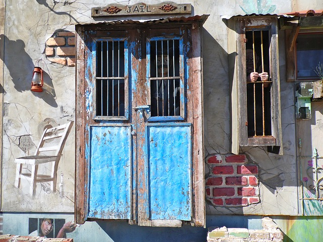 Free jail fake art house wall door window building