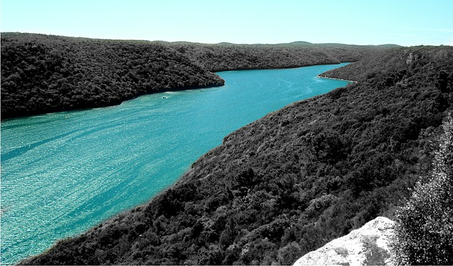 Free adriatic sea channel lim turquoise water mountain