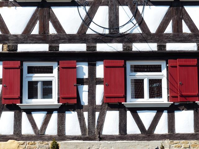 Free home truss fachwerkhaus window shutter red clean