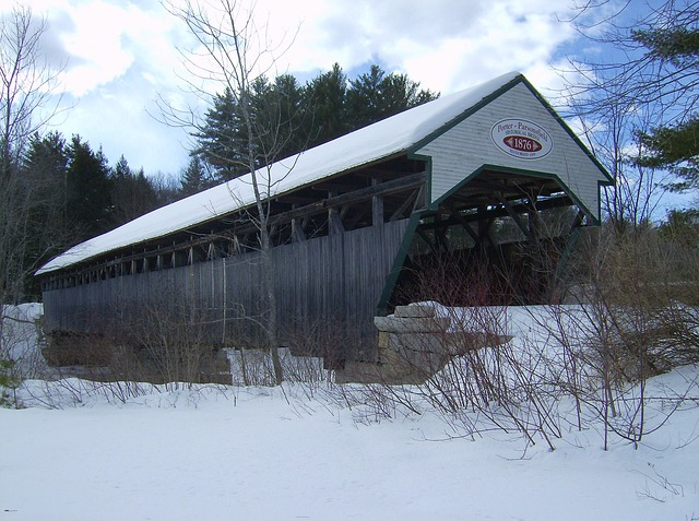 Free maine covered bridge winter snow landmark