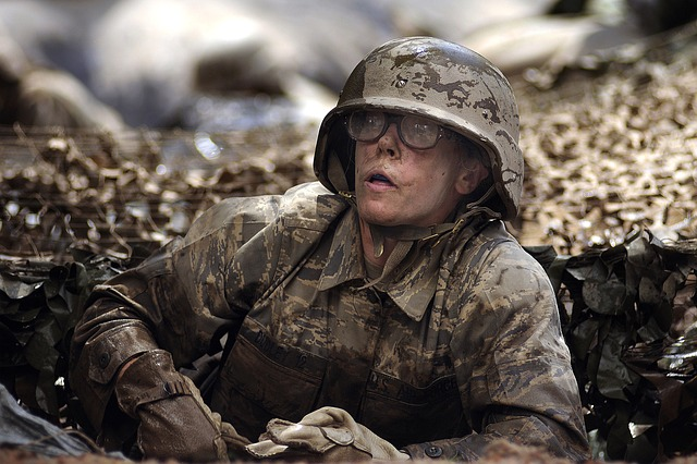 Free female woman water military soldier wet muddy