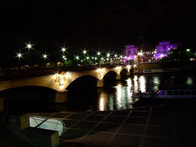 Free paris france bridge river water reflections