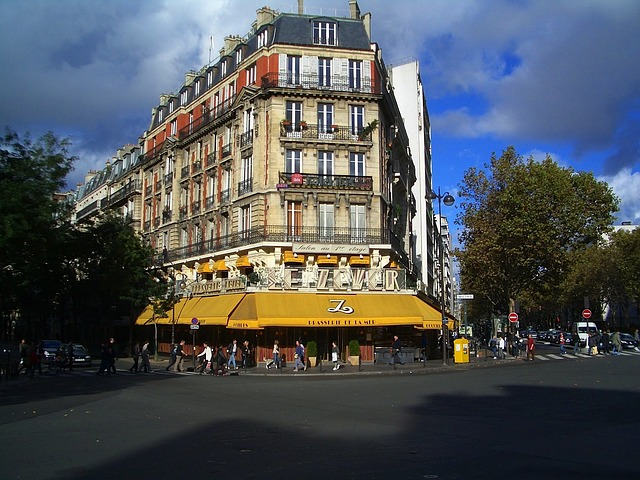 Free paris france building sky clouds street urban