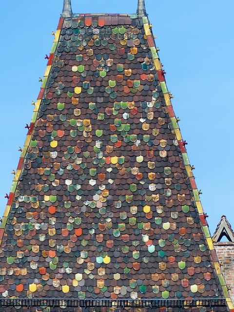 Free roof spire building brick colorful color light
