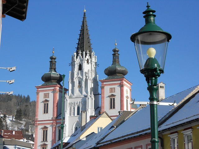 Free mariazell styria church downtown street lamp