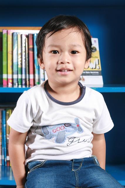 Free son kid child boy handsome library sitting