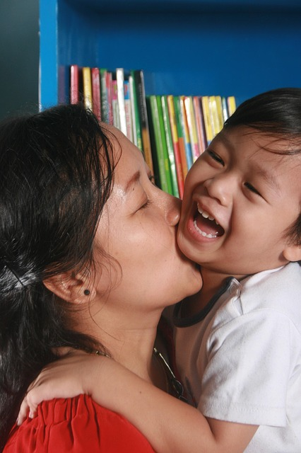Free mother son kiss library happy kid