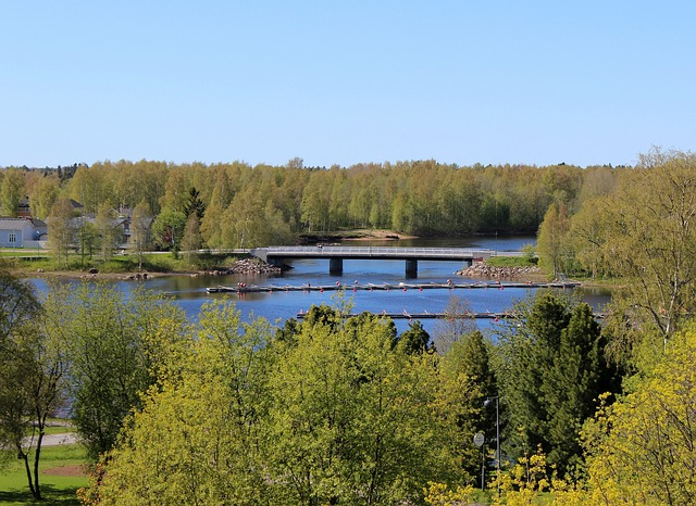 Free finland sky clouds bridge river water nature