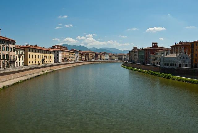 Free pisa pl italy sky clouds canal river waterway