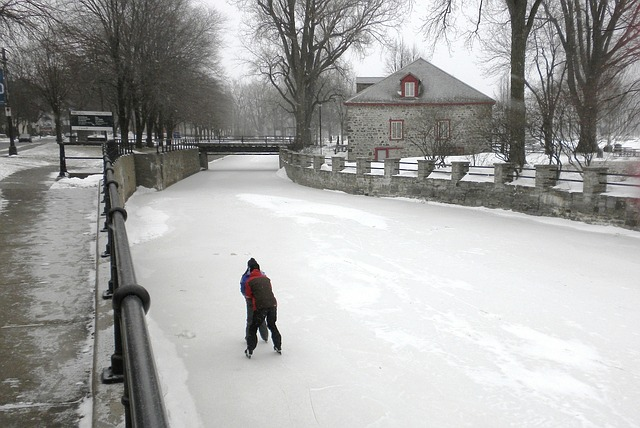 Free lachine canal canada couple skating frozen water