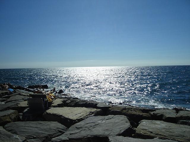 Free sea sun reflect holiday wide blue sky leisure