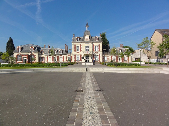 Free persan france landscape sky clouds town hall
