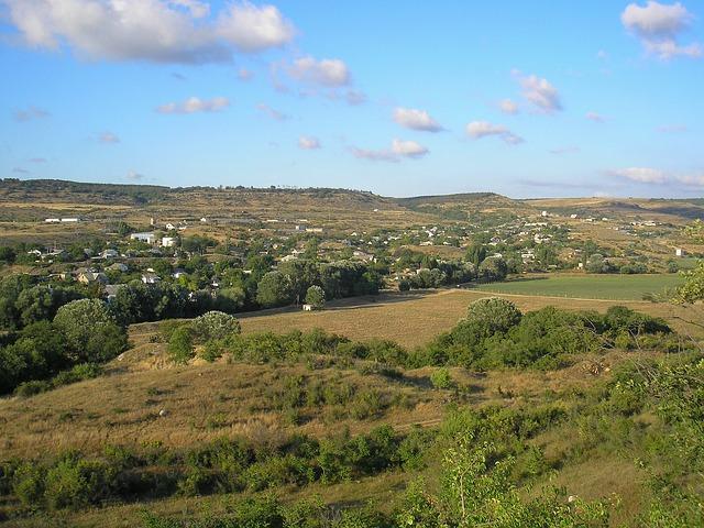 Free crimea landscape scenic sky clouds village hills