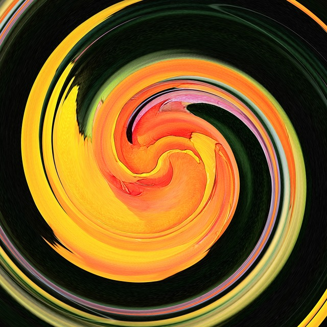 Free yellow red swirl twirl digital art artwork art