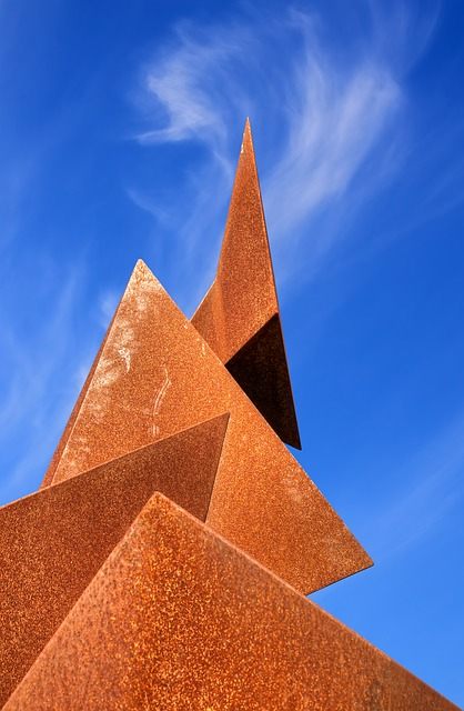 Free Photos:               sculpture metal stainless sky clouds section cut | Ralf Kunze