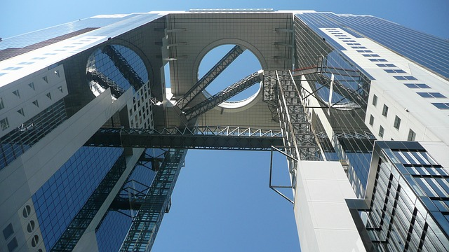 Free osaka japan building structure sky clouds steel