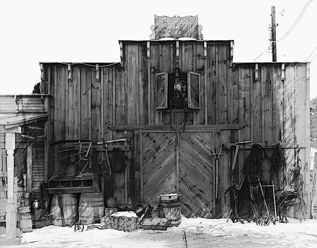 Free western style building wooden black and white