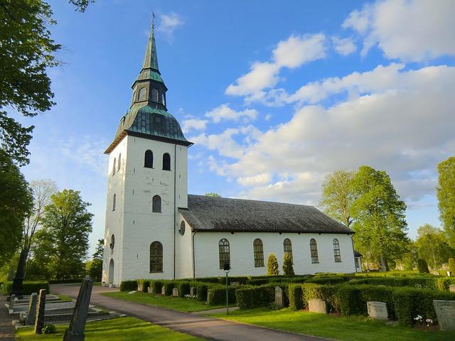 Free värmland sweden church cemetery trees sky clouds