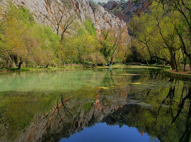 Free spain river water trees scenic reflections