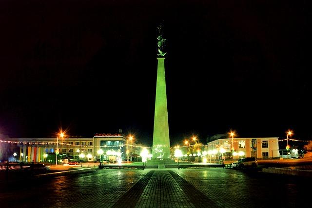 Free shymkent kazakhstan obelisk tower buildings night