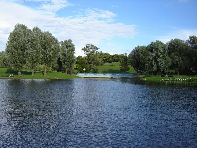 Free munich germany lake sky clouds trees water