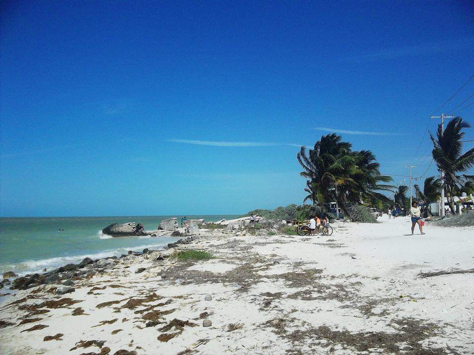 Free Wild Beach at San Crisanto Yucatan Mexico