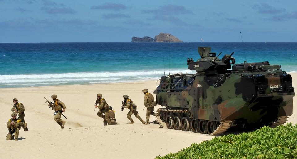 Free Royal Australian Navy sailors participate in a simulated beach