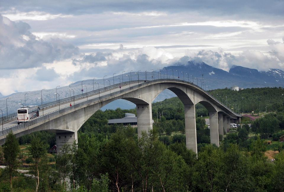 Free Bridge in Norway, North of the Polar Circle, summertime