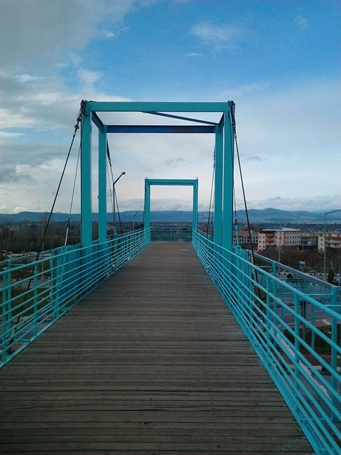 Free blue pedestrian gateway