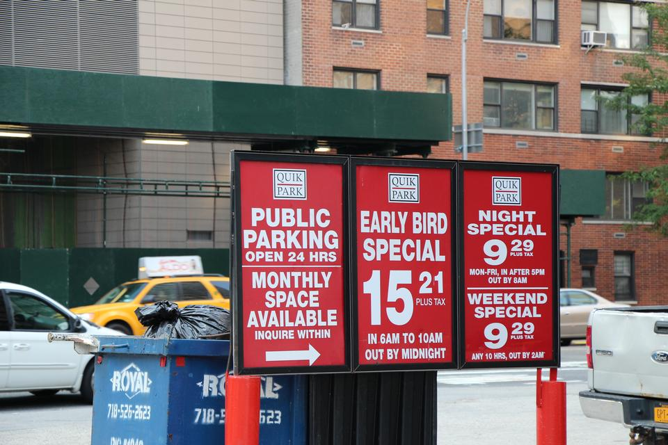 Free Parking sign in midtown New York City