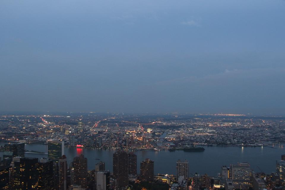 Free Aerial view of Manhattan by night