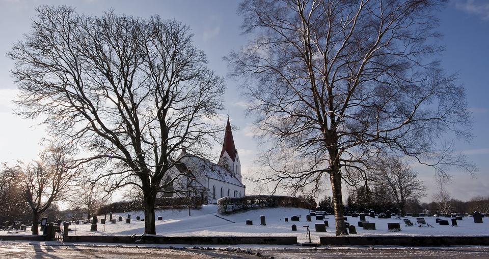 Free A Small Swedish church in winter landscape
