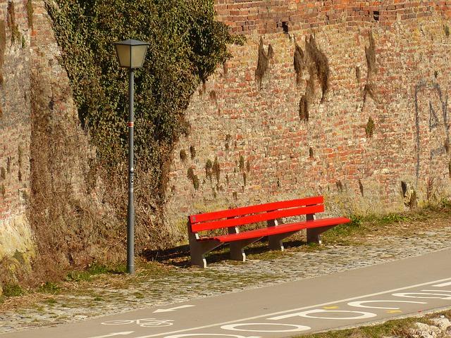 Free bank red sun bench break sunny warm street lamp