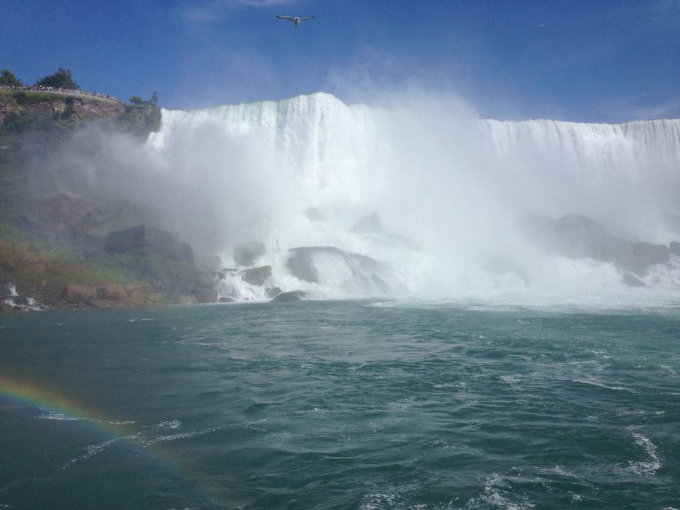 Free American Falls and rainbow, Niagara