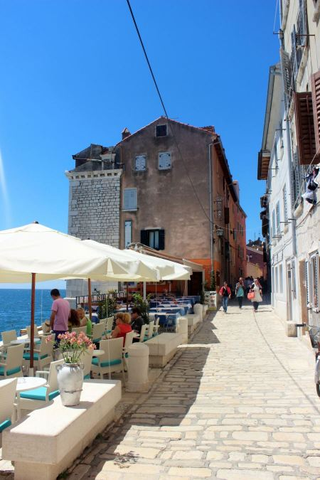 Free Street cafe in old town Rovinj, istria, Croatia