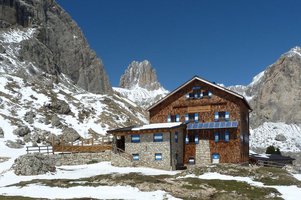 Free Roda di vael refuge in Dolomites, Val di Fassa, Italy