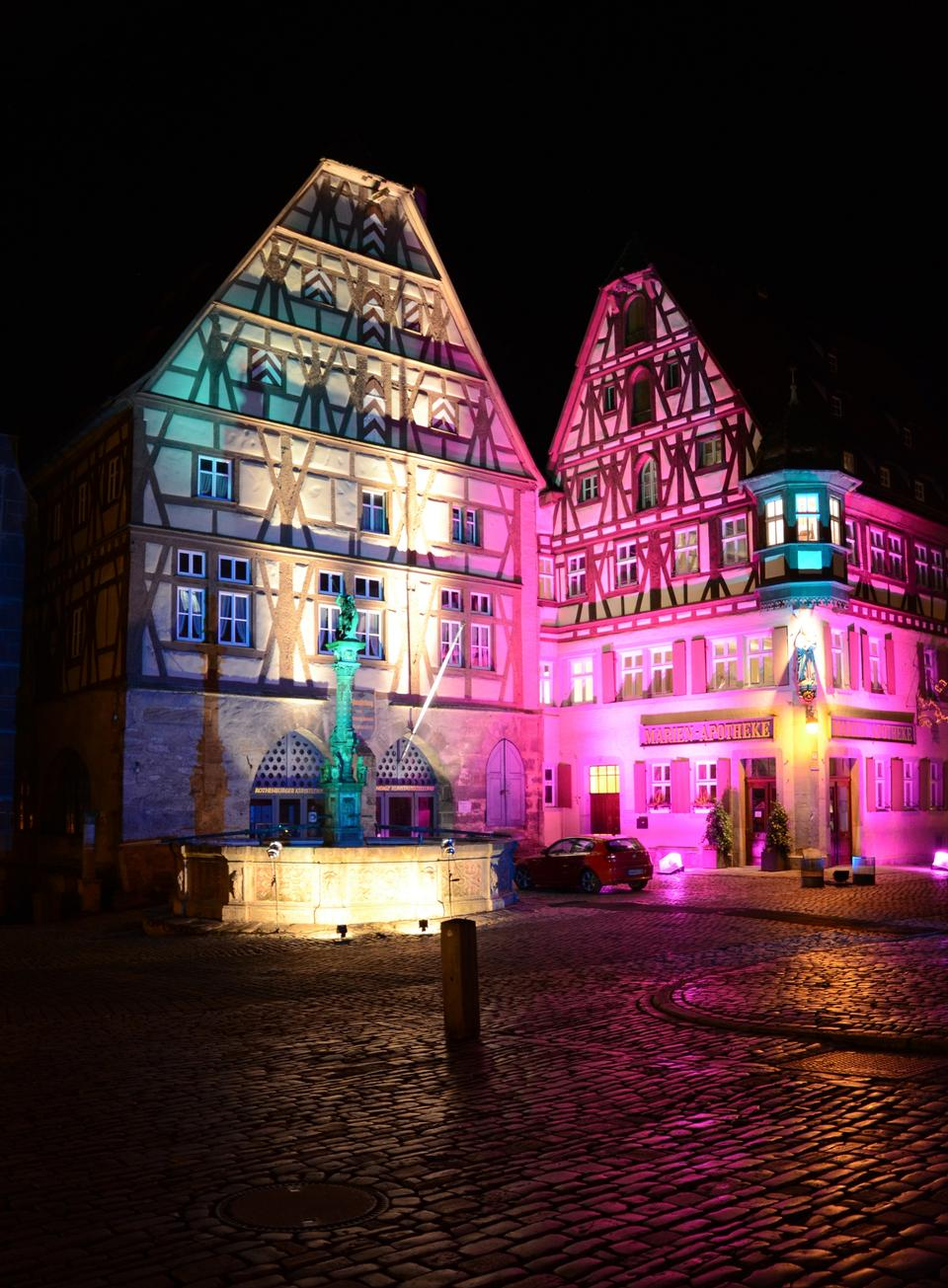 Free Light decoration at night in Rothenburg ob der Tauber, Germany